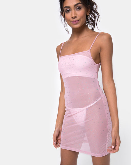 Datista Slip Dress in Satin Rose Lilac by Motel