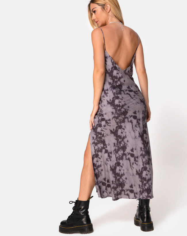 Samia Midi Dress in Grey Bleached Tie Dye by Motel