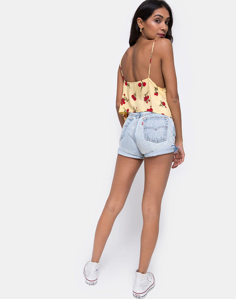 Sanami Cami Top in Falling Rose Yellow by Motel