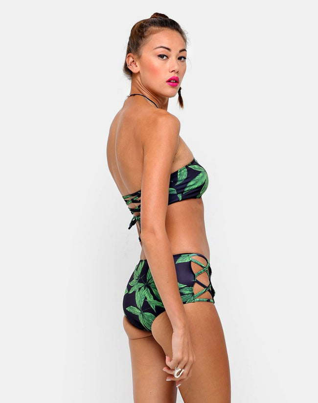 Sandrift Strapless Bikini Bottom in Palm Leaf Green by Motel