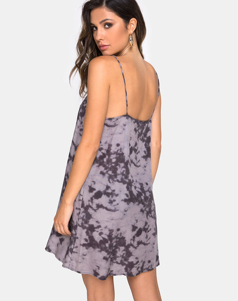 Sanna Slip Dress in Bleached Tie Dye Grey