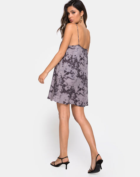 Sanna Slip Dress in Bleached Tie Dye Grey by Motel