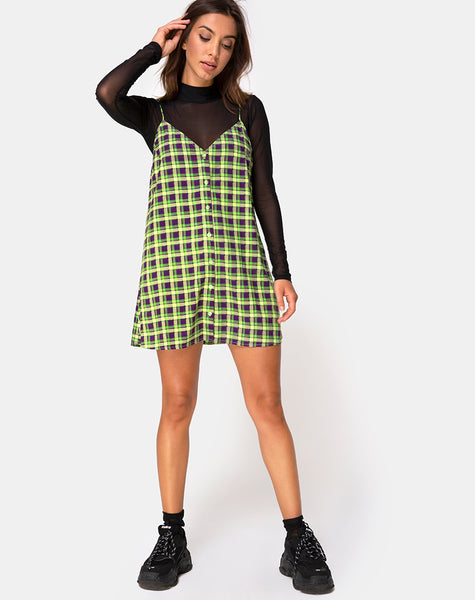 Sanna Slip Dress in Green and Purple Check