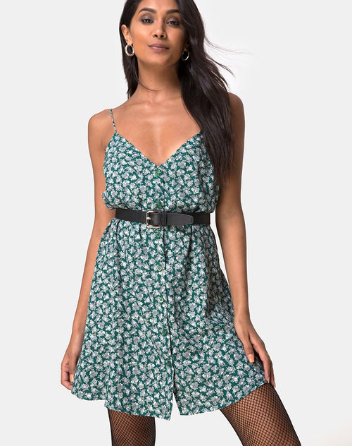 Sanna Slip Dress in Floral Bloom Green by Motel