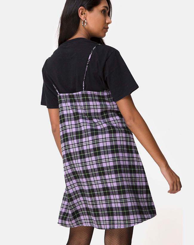 Sanna Slip Dress in Plaid Lilac by Motel