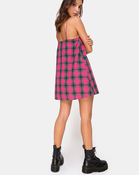 Sanna Slip Dress in Pink and Green Check by Motel