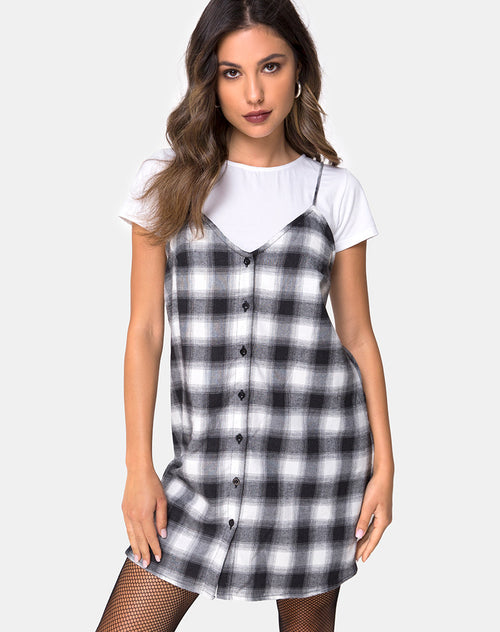 Sanna Dress in Plaid Black and White by Motel