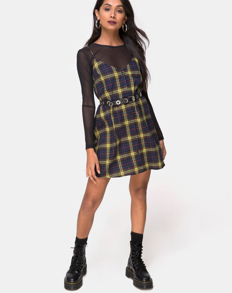Sanna Slip Dress in Plaid Brown Yellow Check by Motel