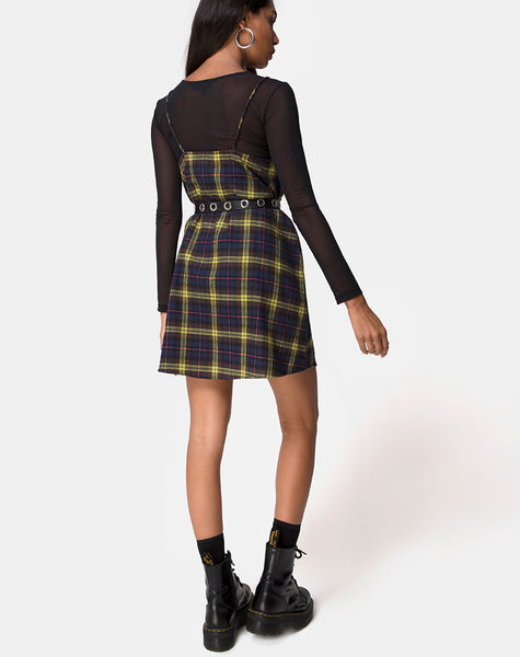 Sanna Slip Dress in Plaid Brown Yellow Check