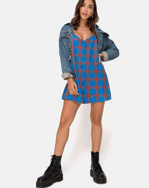 Sanna Slip Dress in Blue and Red Check by Motel
