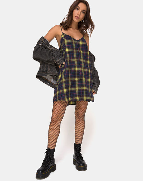 Sanna Slip Dress in Brown and Yellow Check by Motel