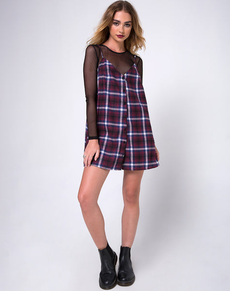 Sanna Slip Dress in Black Red White and Navy Plaid by Motel