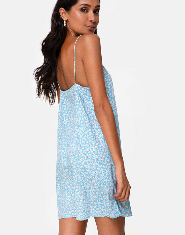 Sanna Slip Dress in Ditsy Rose Blue by Motel