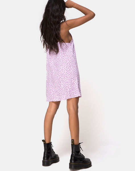Sanna Slip Dress in Ditsy Rose Lilac