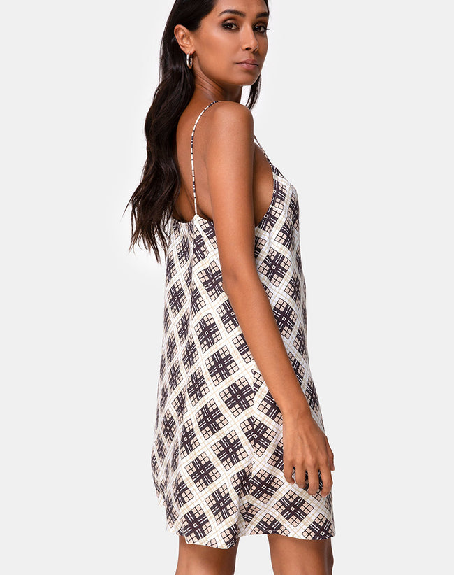 Sanna Slip Dress in Kate Check by Motel