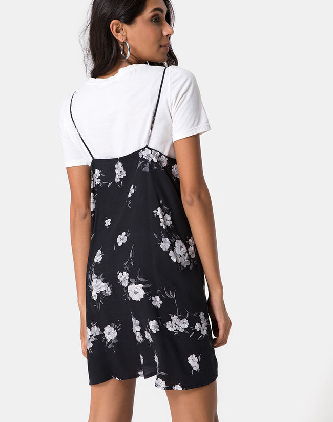 Sanna Slip Dress in Mono Flower Black by Motel