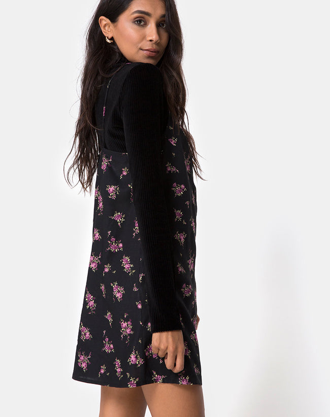 Sanna Slip Dress in Sohey Rose Black By Motel