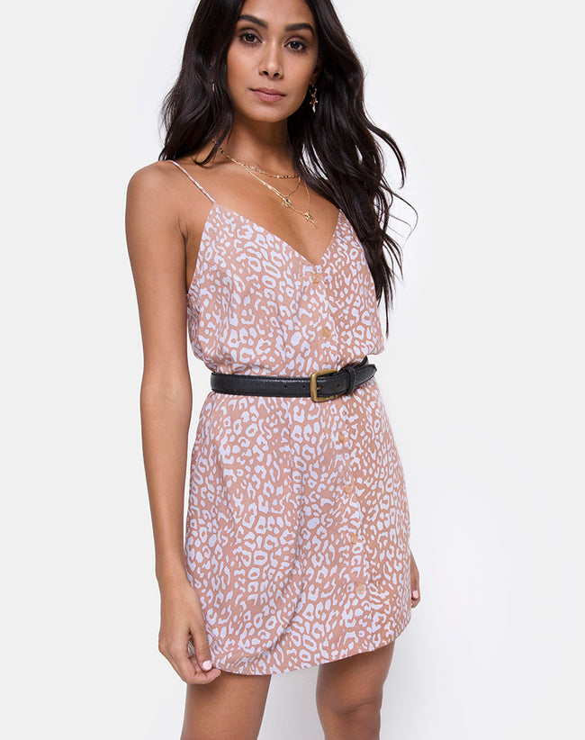 Sanna Slip Dress in Leopard Spot by Motel