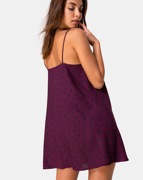 Sanna Slip Dress in Skater Polka Wine