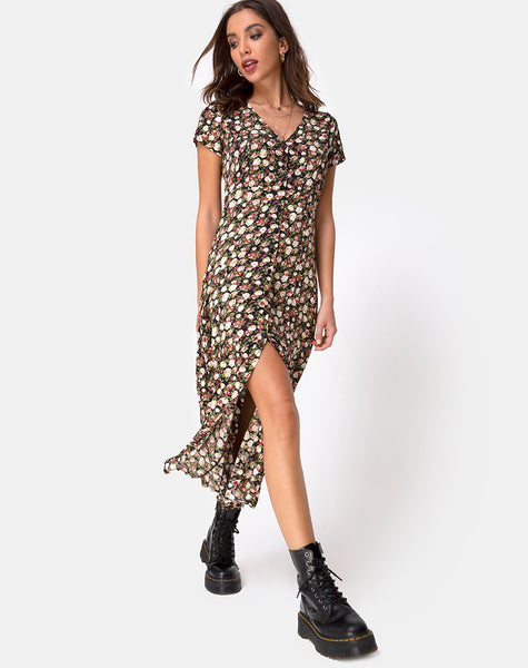 Sanrin Midi Dress in Courtney Floral by Motel