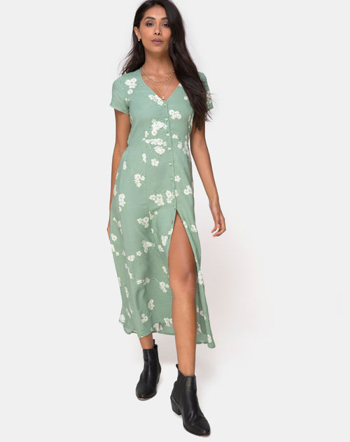 Sanrin Maxi Dress in Mono Flower Green by Motel