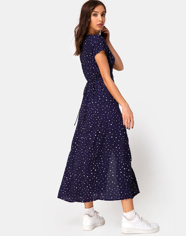 Sanrin Midi Dress in Starstruck Navy by Motel