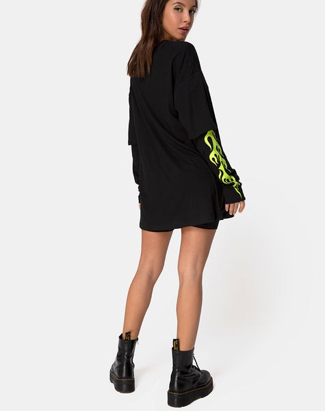 Sashie Jumper Dress in Black with Green Tribal by Motel
