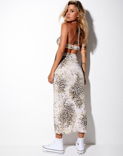 Sash Maxi Skirt in Sand Leopard