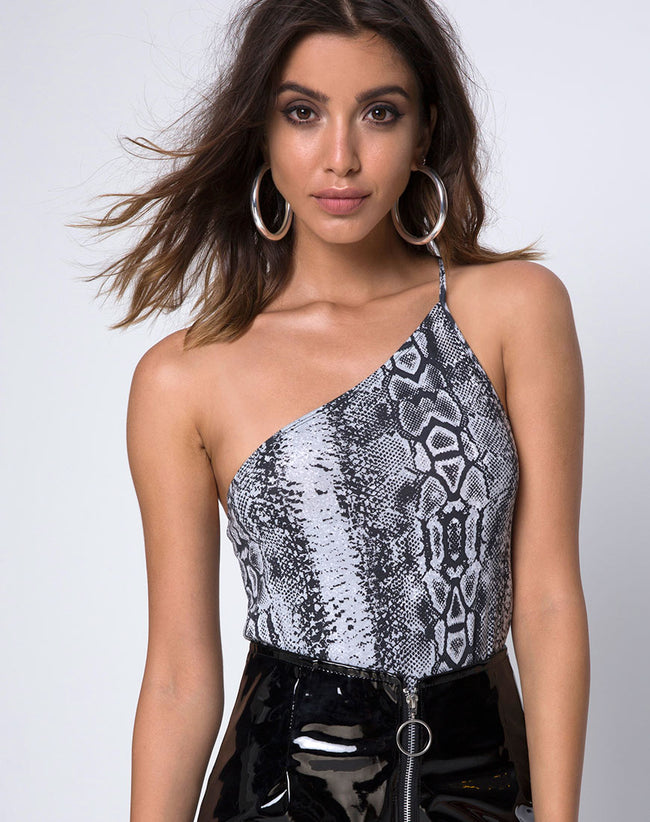 Satchi on shoulder Bodice in Snake by Motel