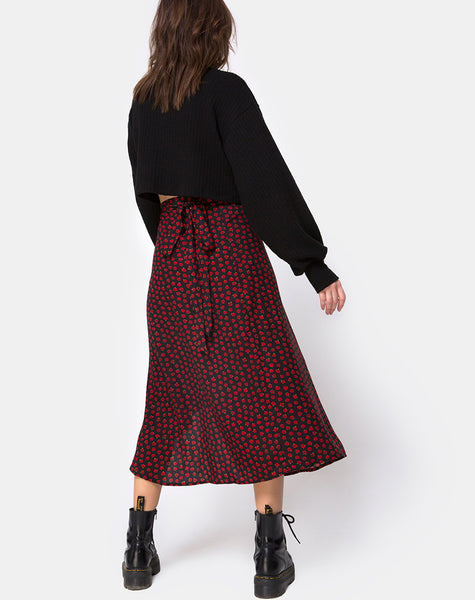 Satha Skirt in Dotty Rose Black By Motel