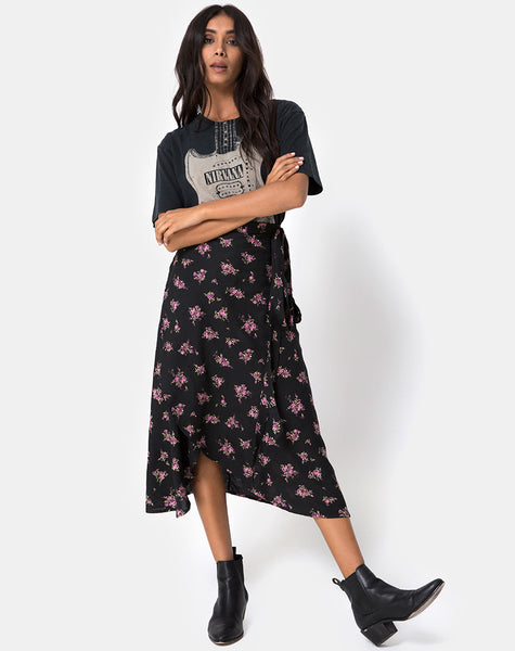 Satha Skirt in Sohey Rose Black by Motel