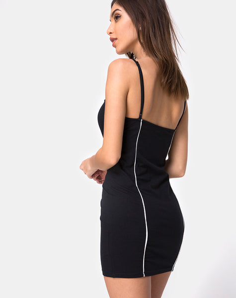 Scosh Bodycon Dress in Black with Piping Line