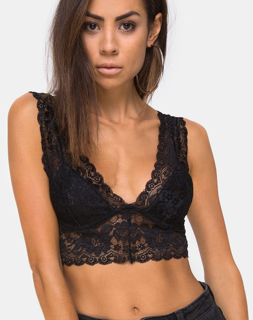 Sejie Bralet Crop in Lace Black by Motel