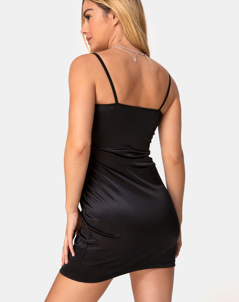 Sekka Dress in Satin Black by Motel