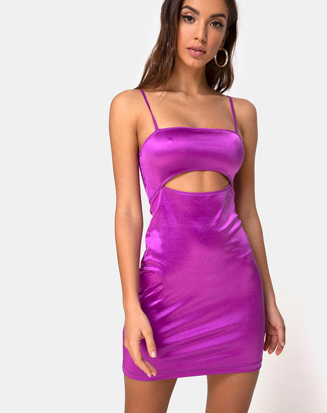 Sekka Dress in Satin Violet by Motel