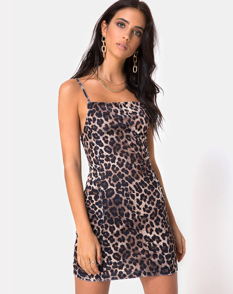 Sekina Dress in Velvet Brown Leopard by Motel