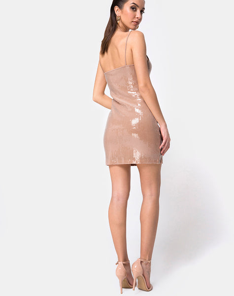 Selah Bodycon Dress in Camel with Clear Sequin