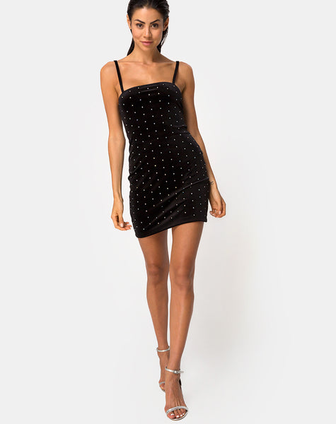 Selah Bodycon Dress in Diamante Black by Motel