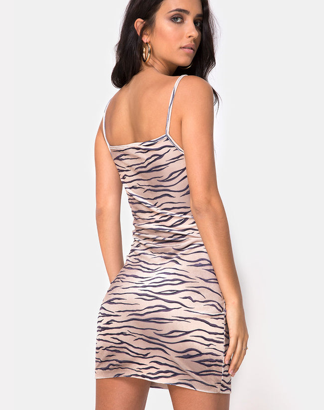 Selah Bodycon Dress in Velvet Golden Tiger by Motel