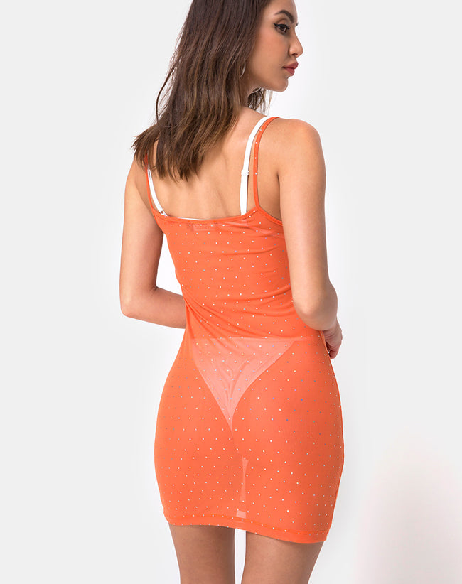 Seleh Dress in Crystal Net Orange by Motel