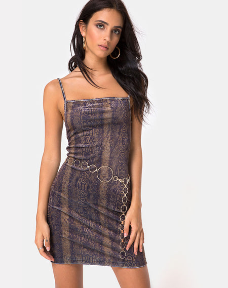Selana Bodycon Dress in Acid Snake Clear Sequin by Motel