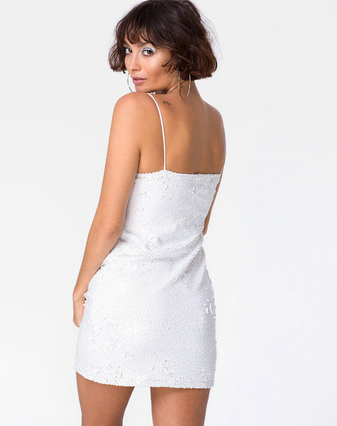 Selah Tube Dress in Matte Fishcale Sequin White by Motel