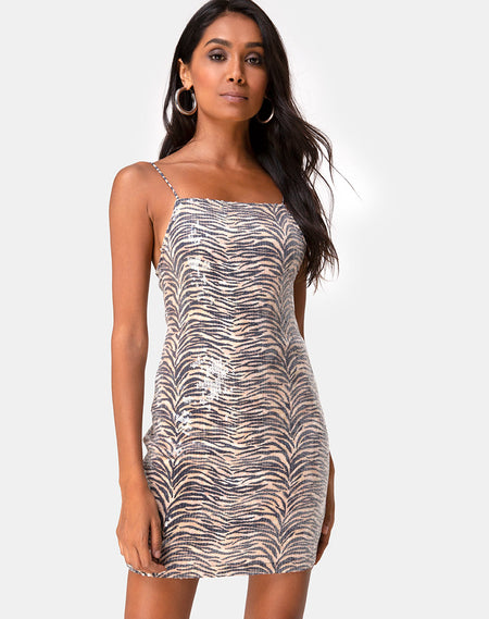 Paiva Dress in Drape Net Sequin Silver by Motel