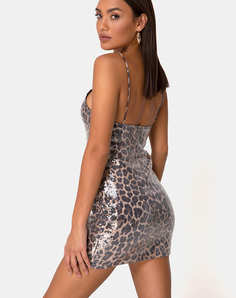 Selana Bodycon Dress in Leopard with Clear Sequin