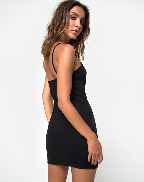 Seldas Bodycon Dress in Black Clasp Gold by Motel