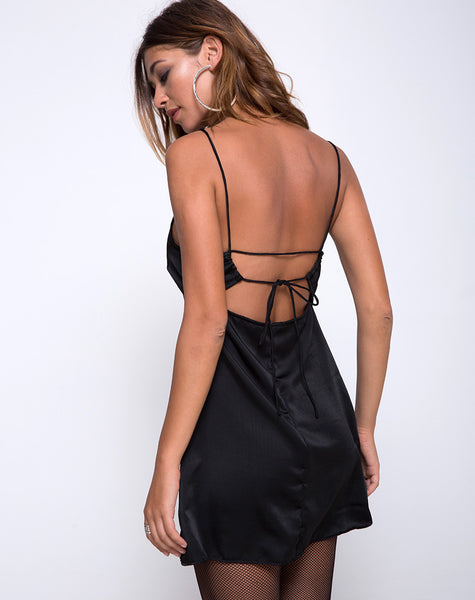 Sello Slip Dress in Black by Motel