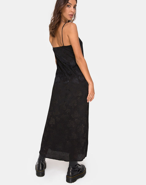 Senia Dress in Satin Rose Black by Motel