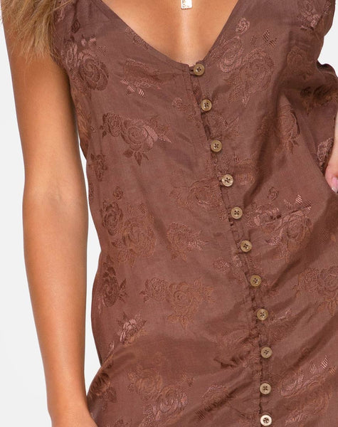 Senia Dress in Satin Rose Chocolate