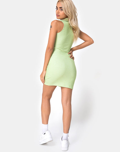 Senja Bodycon Dress in Rib Pastel Lime