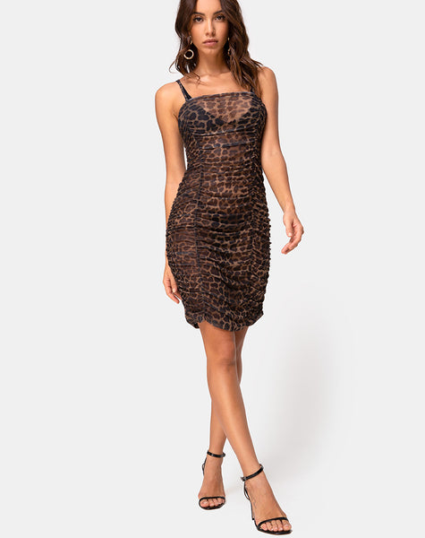 Seruchi Dress in Leopard Mesh by Motel